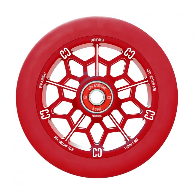 Core Hex Hollow Stunt Scooter Wheel Red 110mm