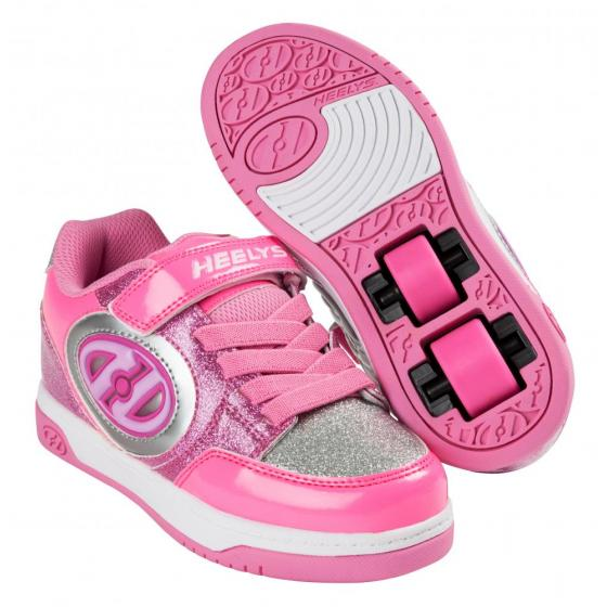 Heelys X2 Plus Lighted Neon Pink/Light Pink/Silver