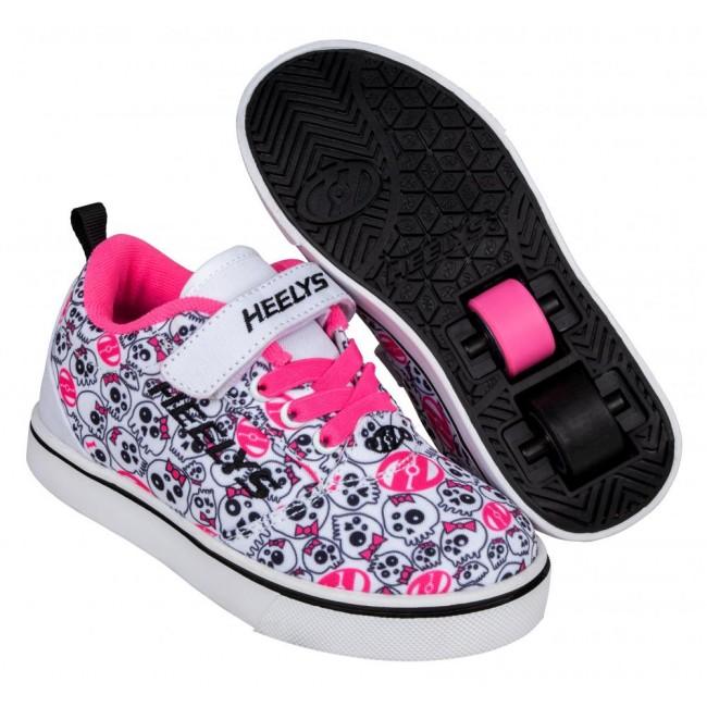 Heelys Pro 20 X2 White/Black/Hot Pink/Skulls