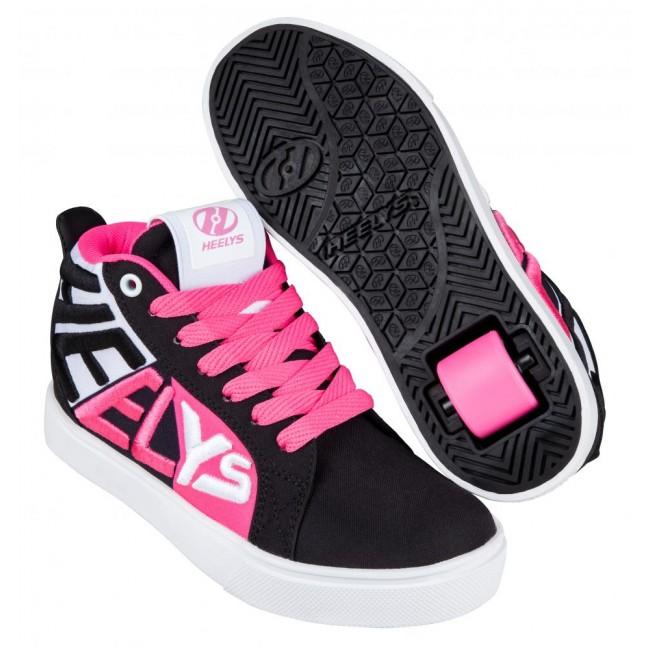Heelys Racer Mid 20 Black/White/Neon Pink
