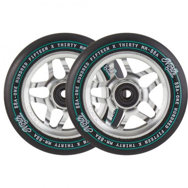 North Contact 115mm Scooter Wheels Silver 2 Pack