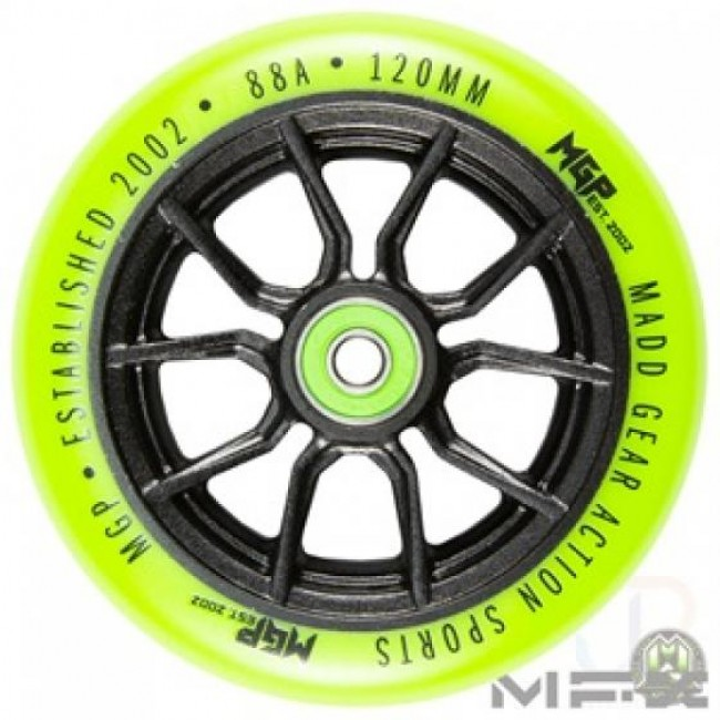 MGP MFX Syndicate AR120 Scooter Wheels Black/Lime Pair
