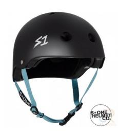 S1 Lifer Lit Scooter Helmet Matt Black Blue Strap Large