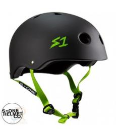 S1 Lifer Lit Scooter Helmet Matt Black Green Strap Large