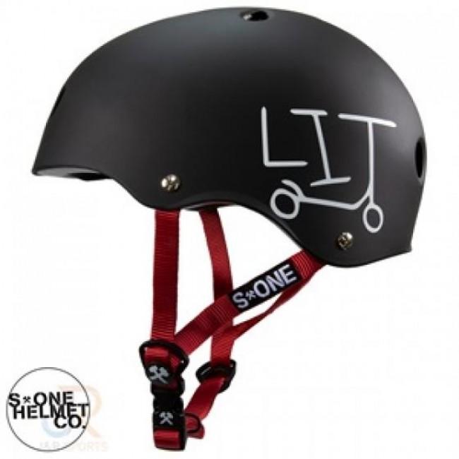S1 Lifer Lit Scooter Helmet Matt Black Red Strap Large