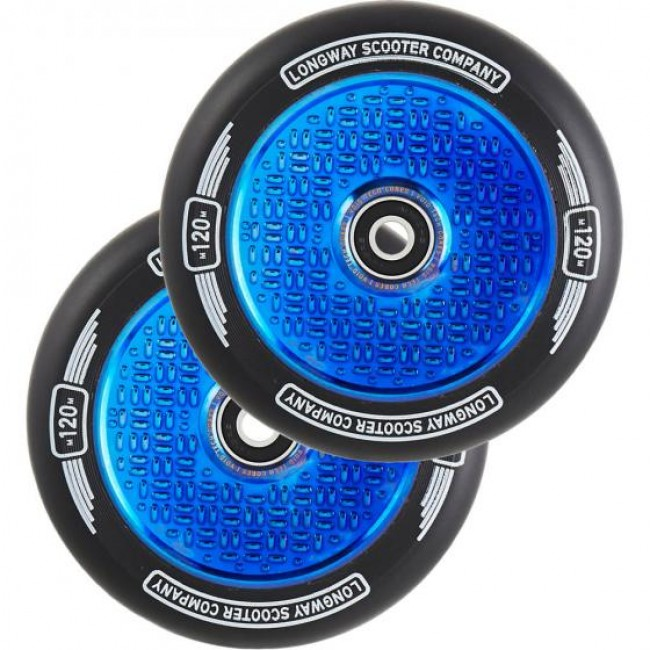 Longway Precinct V2 Hollow Scooter Wheels Blue Neo Chrome 120mm