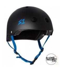 S1 Lifer Helmet Matt Black/Cyan Strap Extra Large