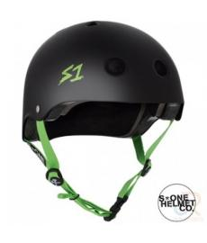 S1 Lifer Helmet Matt Black/Green Strap Extra Large
