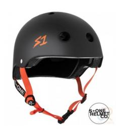 S1 Lifer Helmet Matt Black/Orange Strap Extra Large