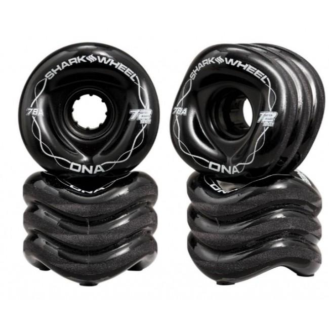 Shark DNA Formula Longboard Wheels 4 Pack Black 72mm