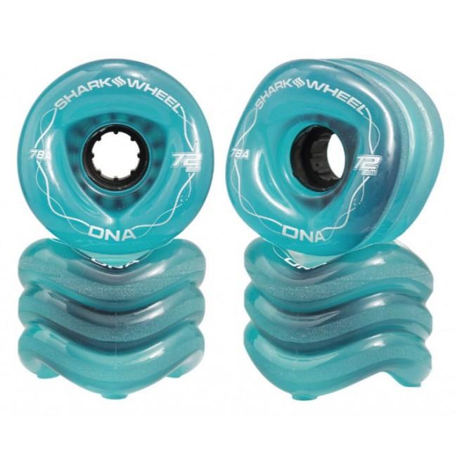 Shark DNA Formula Longboard Wheels 4 Pack Transparent Blue 72mm