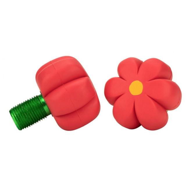 Moxi Brake Petal Toe Stops Red Hibiscus Pair