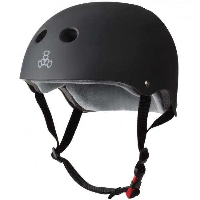 Triple 8 Sweatsaver Certified Black Rubber Helmet L/XL